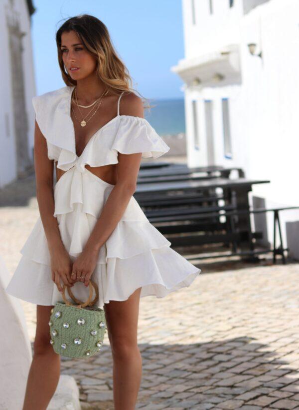Hazel Vestido Linho Branco Um Ombro Folhos Nomade