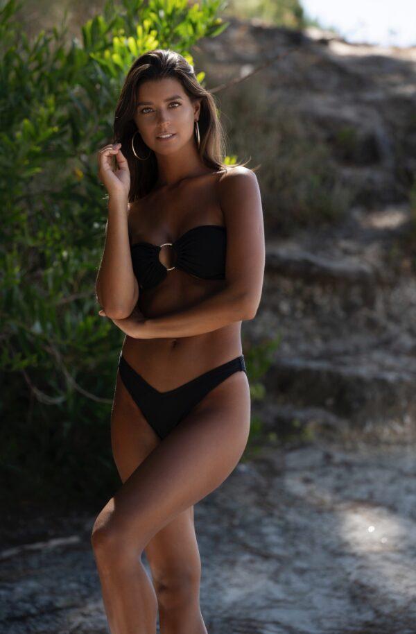 Hazel Bikini Mizzu Preto Sem Ombros Argola