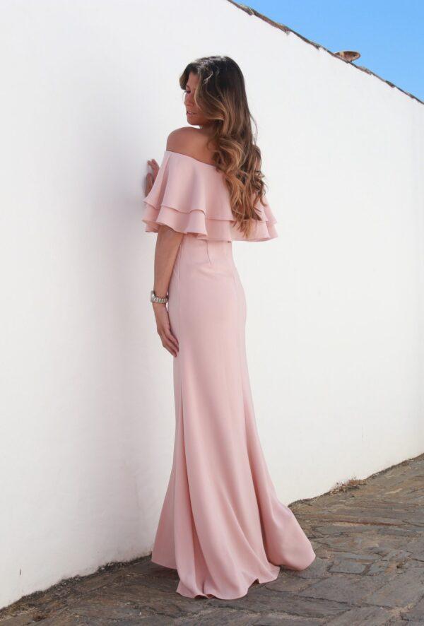 Hazel Vestido Santorini Comprido Rosa Pastel Rosa Velho Folhos