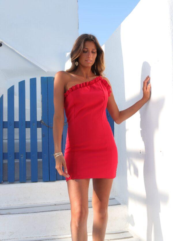 Hazel Vestido Curto Vermelho com folho Samos