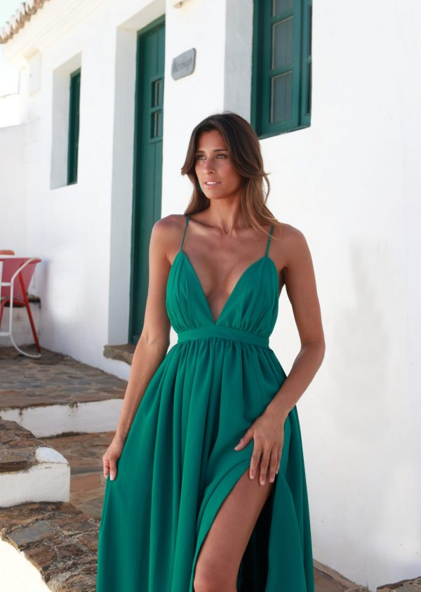 Hazel Vestido Comprido Paxi Verde em Chiffon