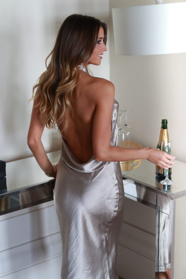 Hazel Champagne satin dress with open back