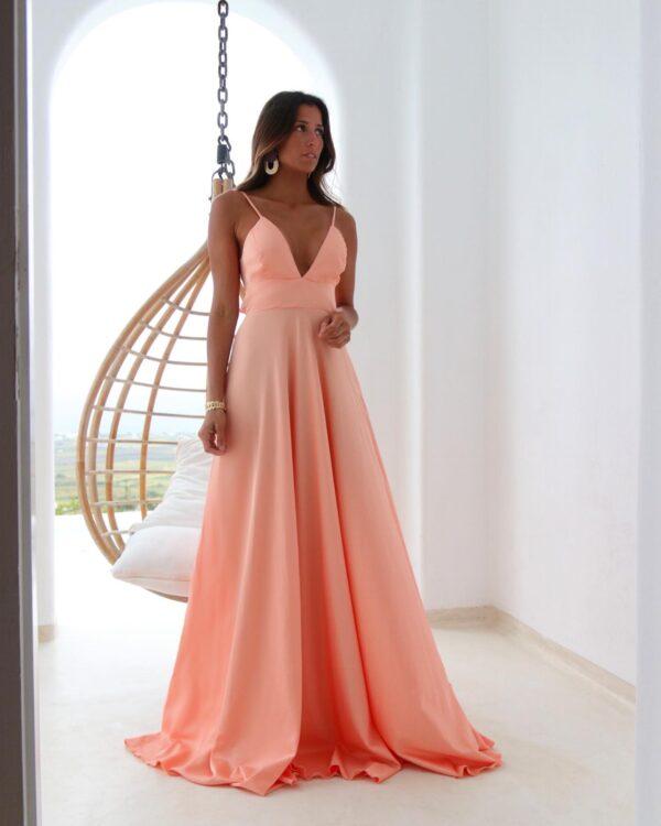 Hazel Vestido Coral comprido com laço